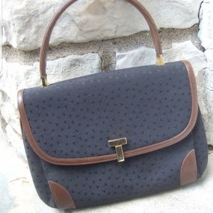 Tiffany & Co. Black Canvas Leather Trim Satchel